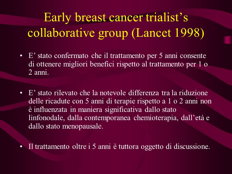 Early breast cancer trialist's collaborative group (Lancet 1998)