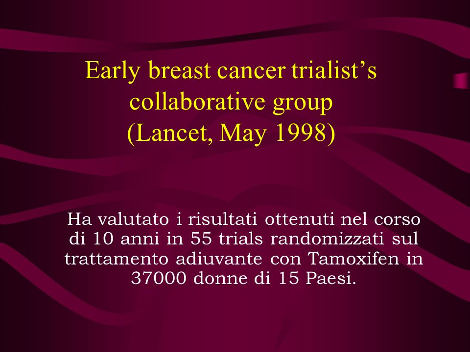 Early breast cancer trialist's collaborative group (Lancet, May 1998)