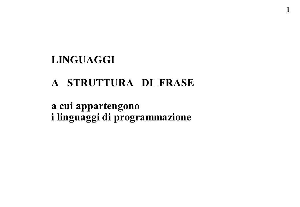 LINGUAGGI A STRUTTURA DI FRASE a cui appartengono i linguaggi di programmazione