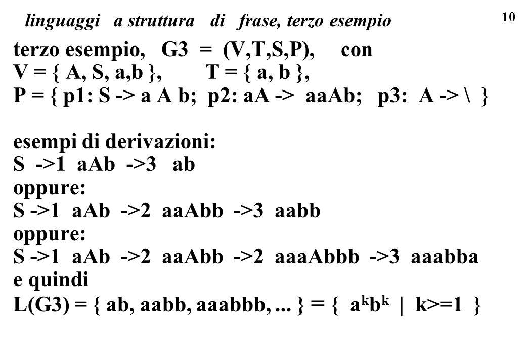linguaggi a struttura di frase, terzo esempio