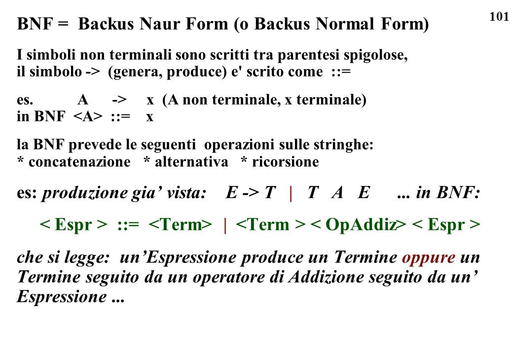 BNF = Backus Naur Form (o Backus Normal Form)
