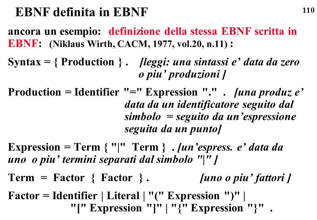 EBNF definita in EBNF ancora un esempio: definizione della stessa EBNF scritta in EBNF: (Niklaus Wirth, CACM, 1977, vol.20, n.11) :