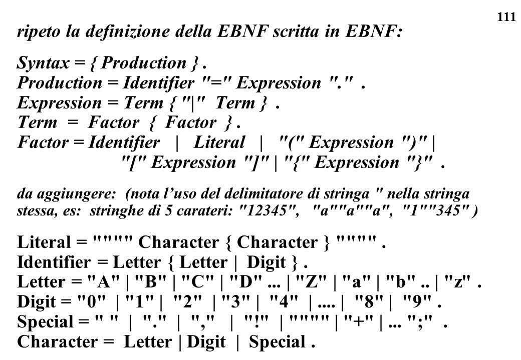 ripeto la definizione della EBNF scritta in EBNF: