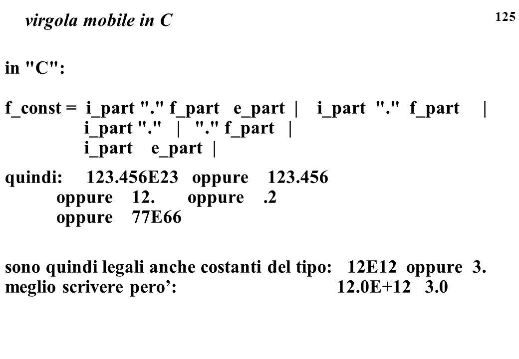 virgola mobile in C in C : f_const = i_part . f_part e_part | i_part . f_part | i_part . | . f_part |