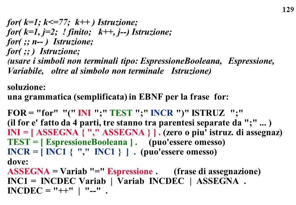 for( k=1; k<=77; k++ ) Istruzione;