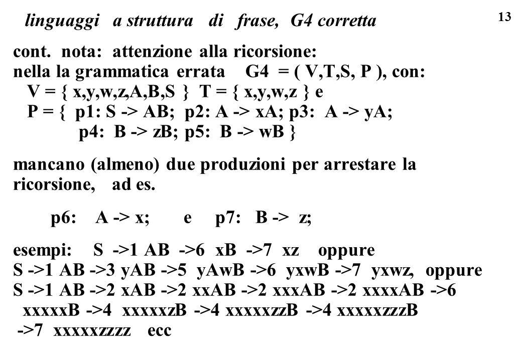 linguaggi a struttura di frase, G4 corretta