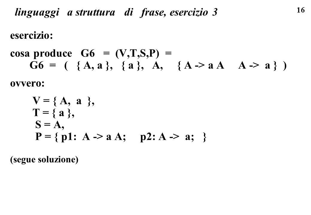 linguaggi a struttura di frase, esercizio 3