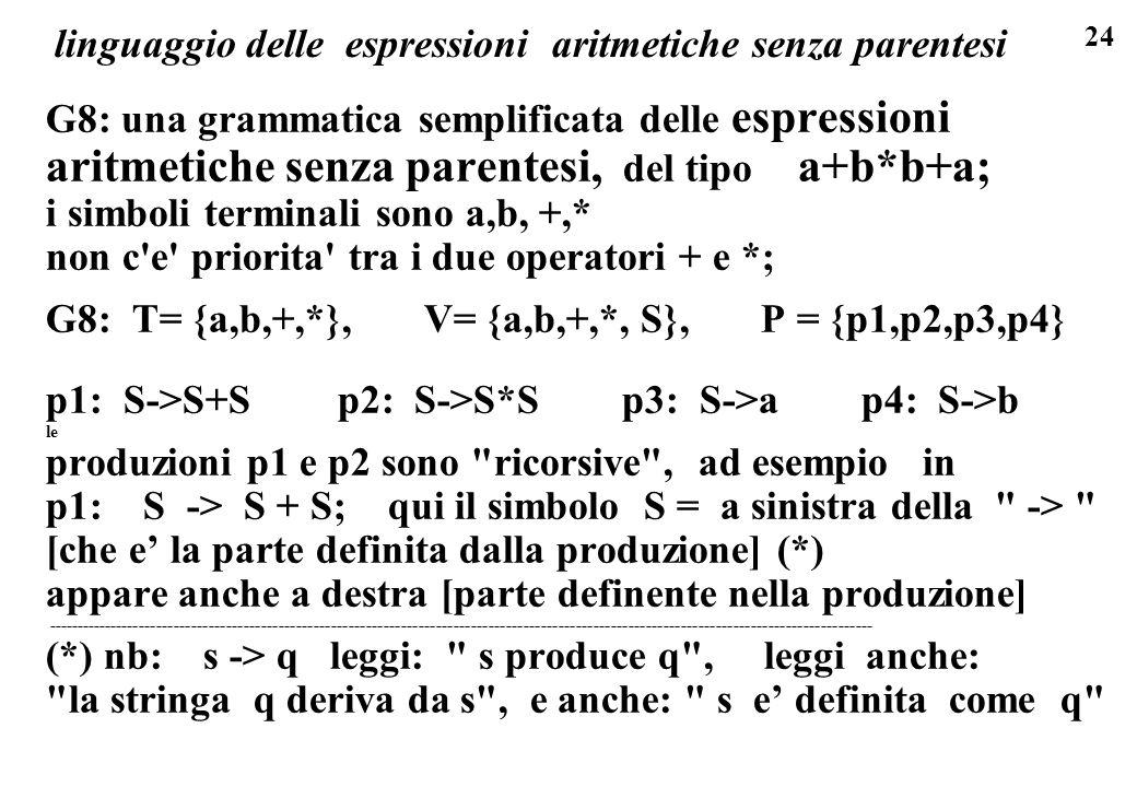 linguaggio delle espressioni aritmetiche senza parentesi