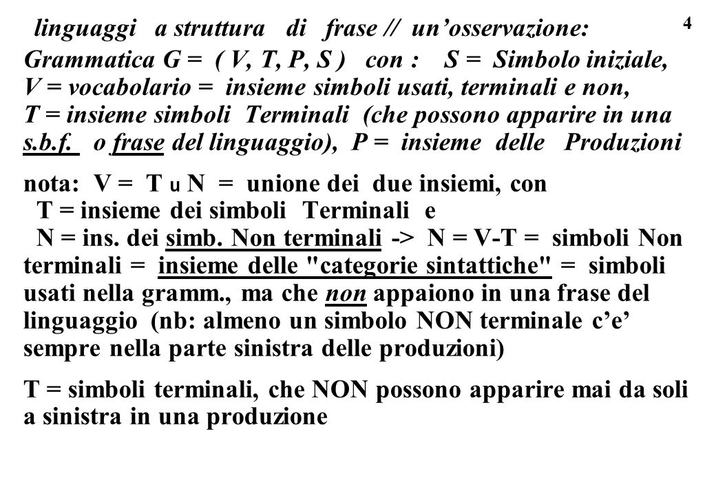 linguaggi a struttura di frase // un'osservazione: