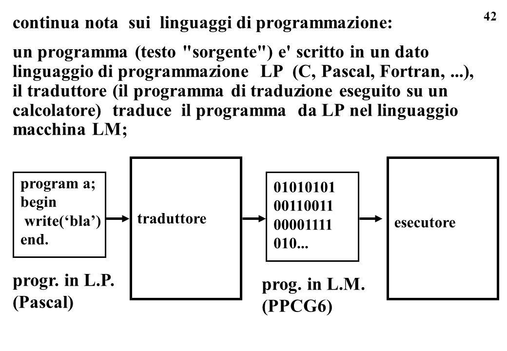 continua nota sui linguaggi di programmazione: