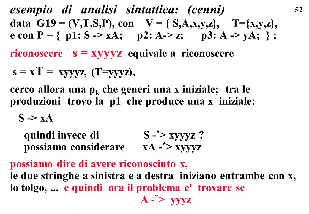 esempio di analisi sintattica: (cenni)