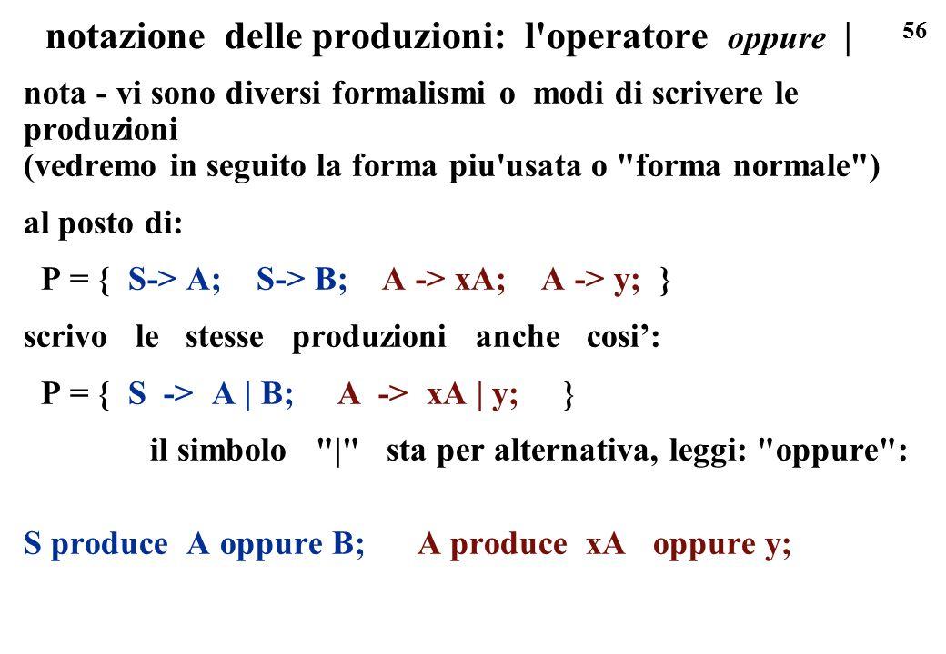 notazione delle produzioni: l operatore oppure |