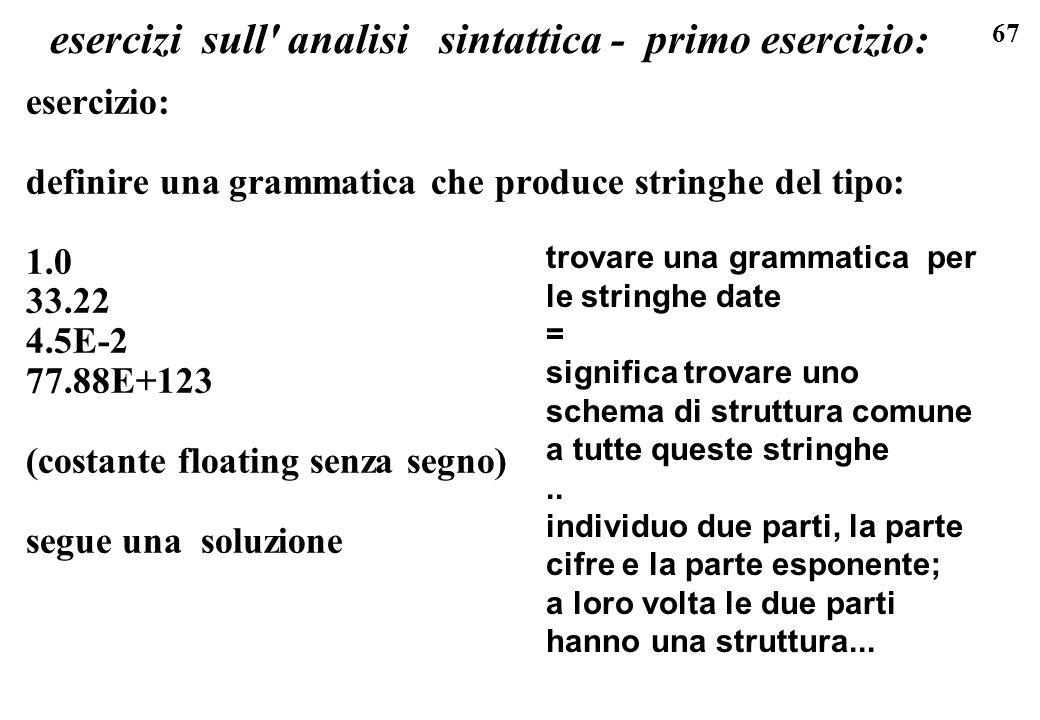 esercizi sull analisi sintattica - primo esercizio: