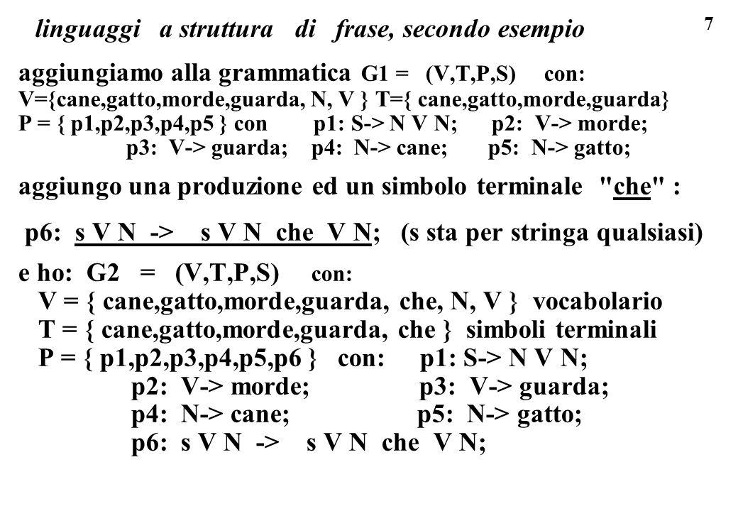 linguaggi a struttura di frase, secondo esempio
