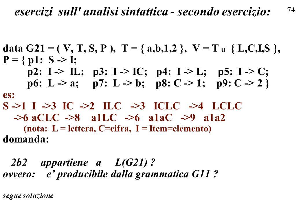 esercizi sull analisi sintattica - secondo esercizio: