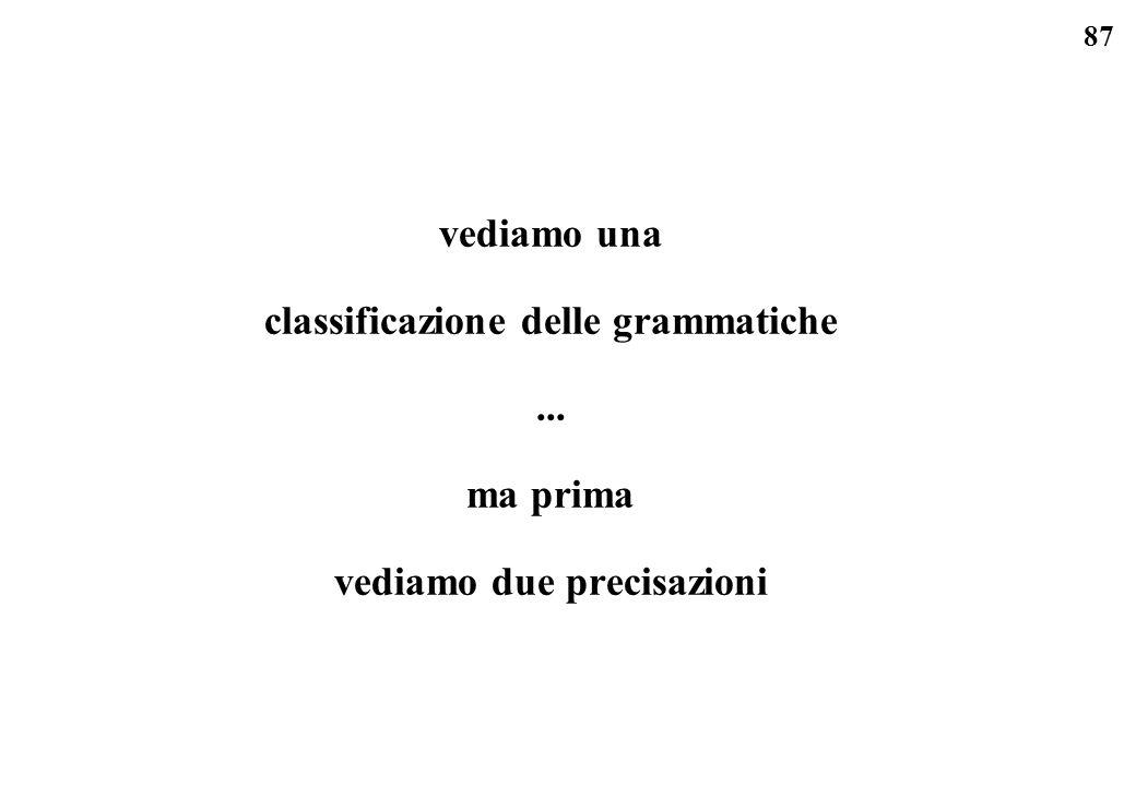 classificazione delle grammatiche vediamo due precisazioni