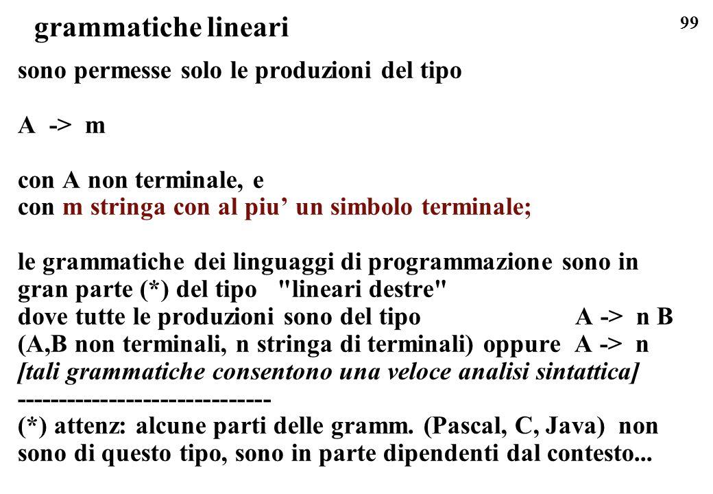 grammatiche lineari sono permesse solo le produzioni del tipo