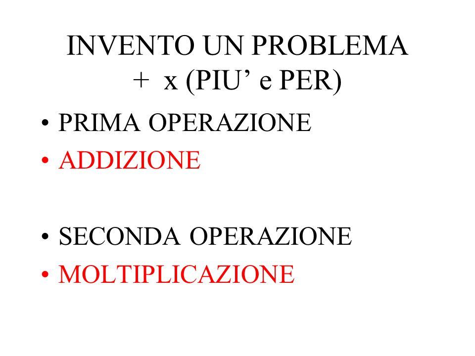 INVENTO UN PROBLEMA + x (PIU' e PER)
