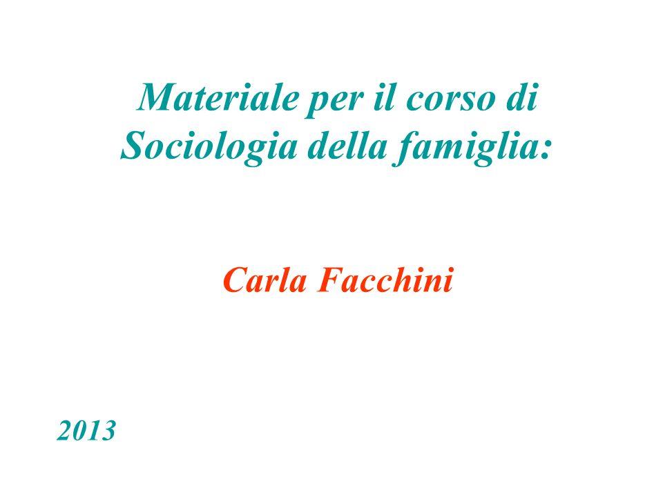 Materiale per il corso di Sociologia della famiglia: Carla Facchini