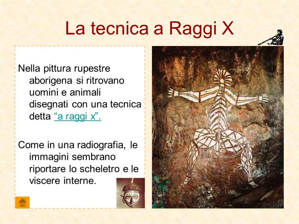 La tecnica a Raggi XNella pittura rupestre aborigena si ritrovano uomini e animali disegnati con una tecnica detta a raggi x .