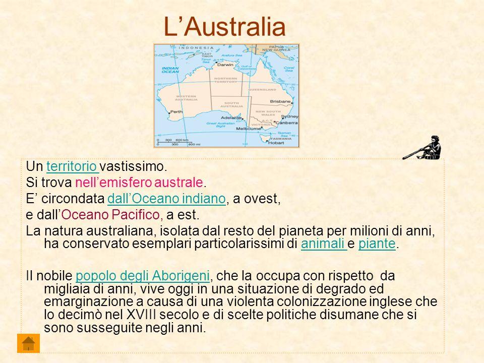 L'Australia Un territorio vastissimo. Si trova nell'emisfero australe.