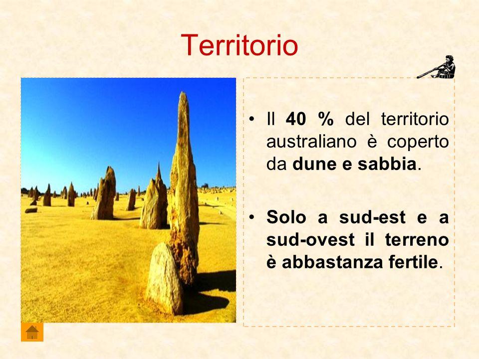 Territorio Il 40 % del territorio australiano è coperto da dune e sabbia.