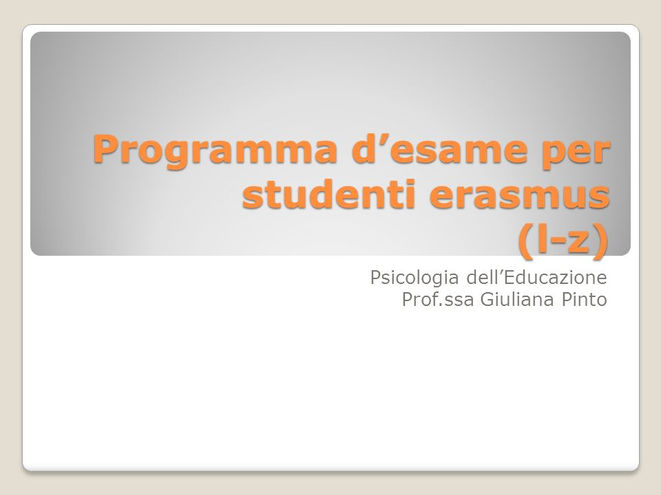 Programma d'esame per studenti erasmus (l-z)