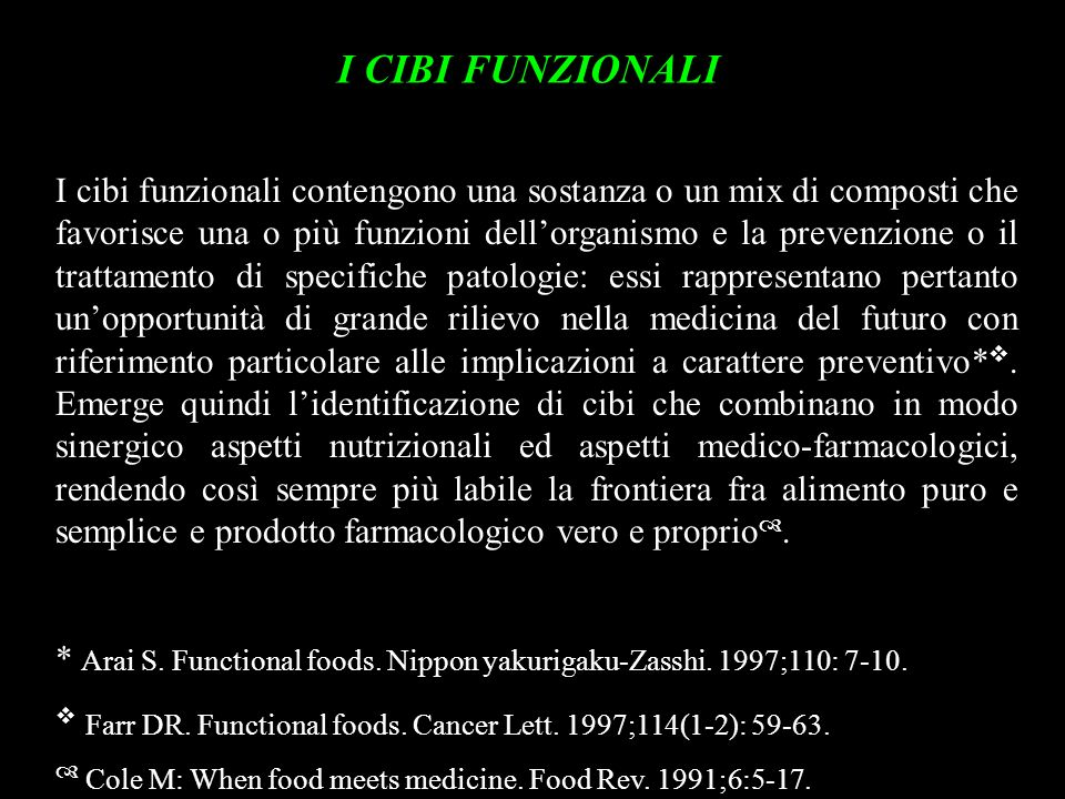 I CIBI FUNZIONALI