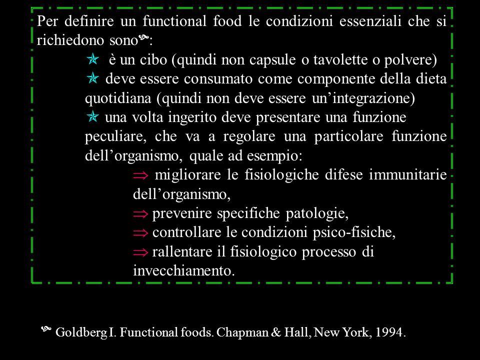 Per definire un functional food le condizioni essenziali che si richiedono sono: