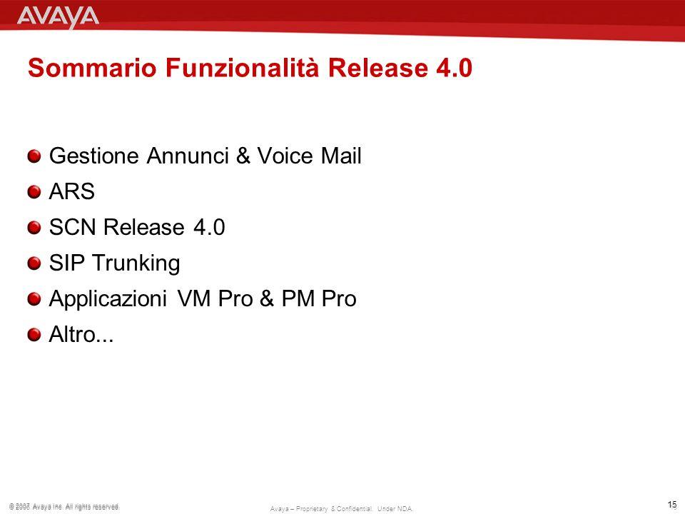 Sommario Funzionalità Release 4.0