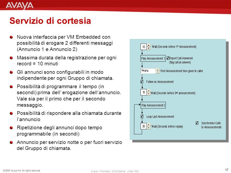 Servizio di cortesia Nuova interfaccia per VM Embedded con possibilità di erogare 2 differenti messaggi (Annuncio 1 e Annuncio 2)