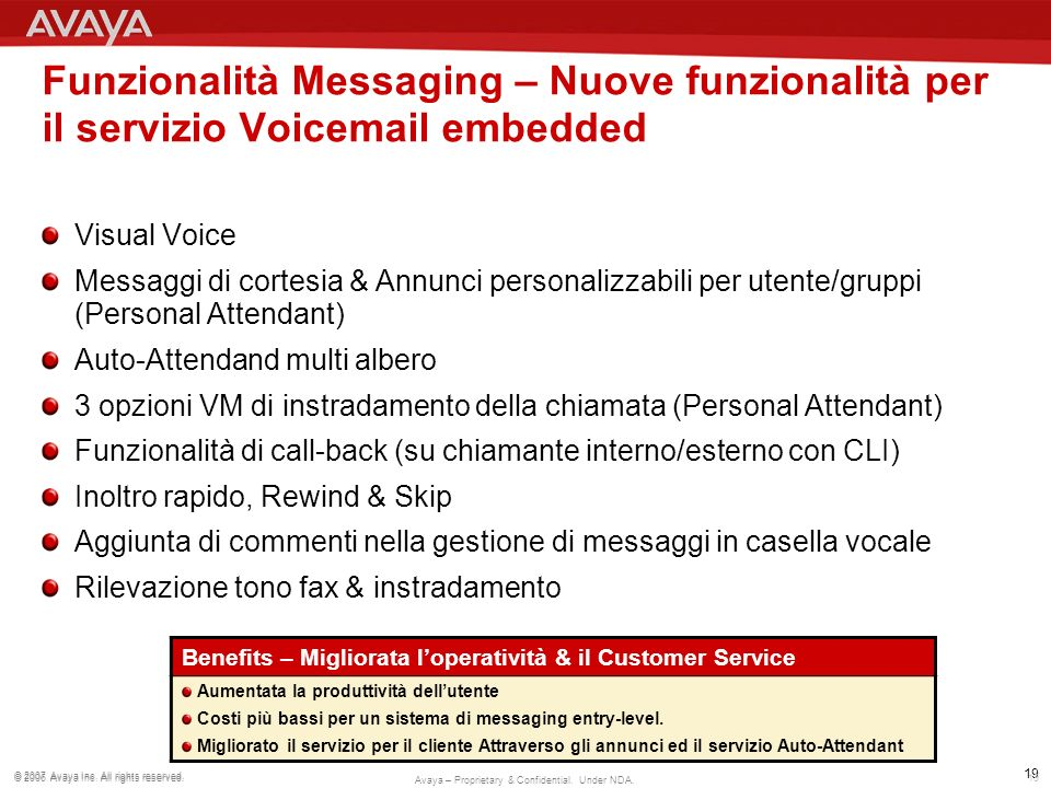 Funzionalità Messaging – Nuove funzionalità per il servizio Voicemail embedded
