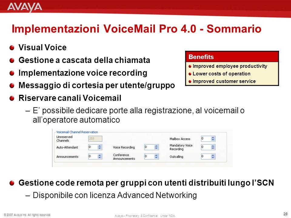 Implementazioni VoiceMail Pro 4.0 - Sommario