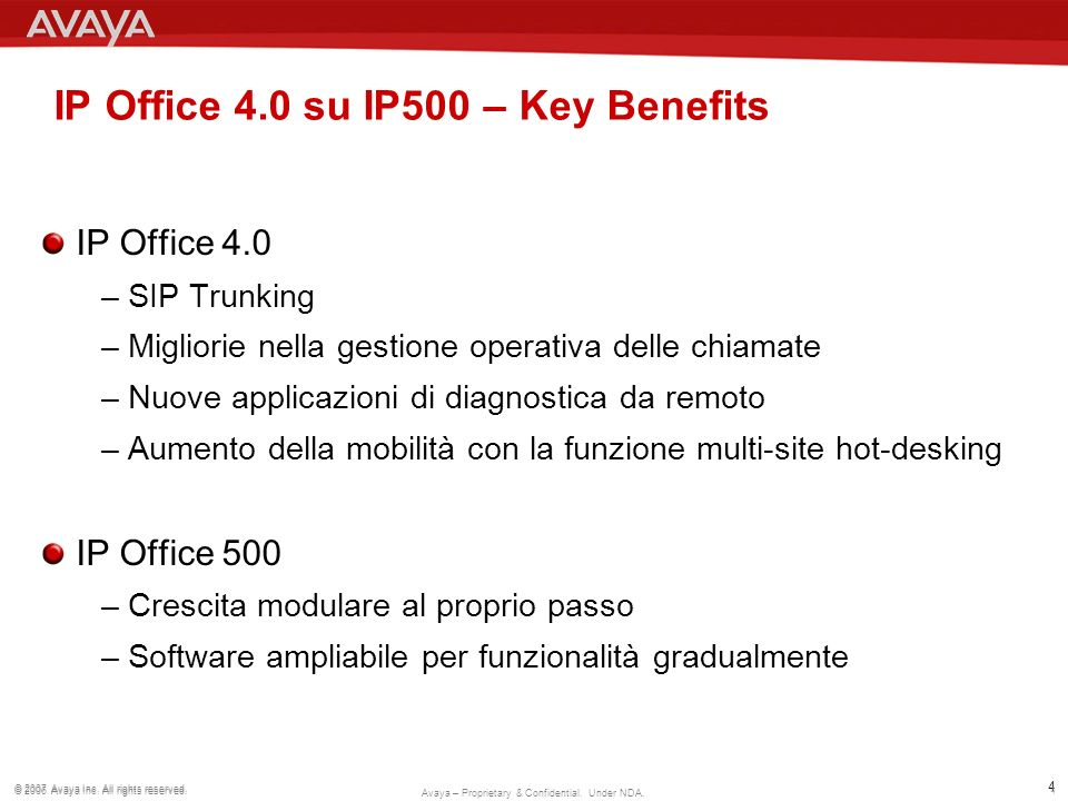IP Office 4.0 su IP500 – Key Benefits