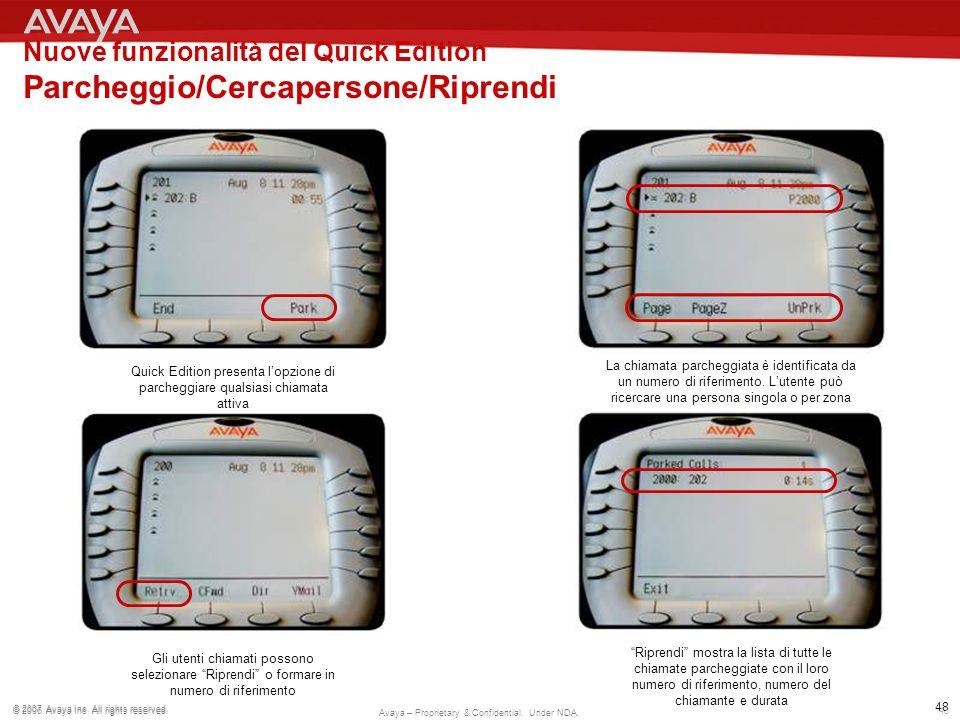 Nuove funzionalità del Quick Edition Parcheggio/Cercapersone/Riprendi