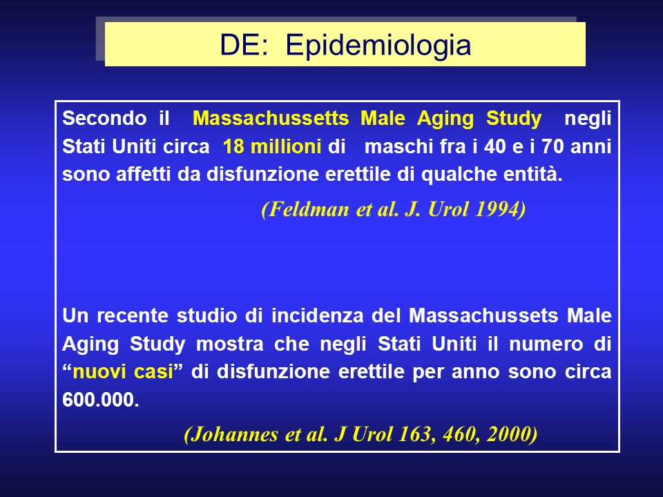 DE: Epidemiologia (Johannes et al. J Urol 163, 460, 2000)