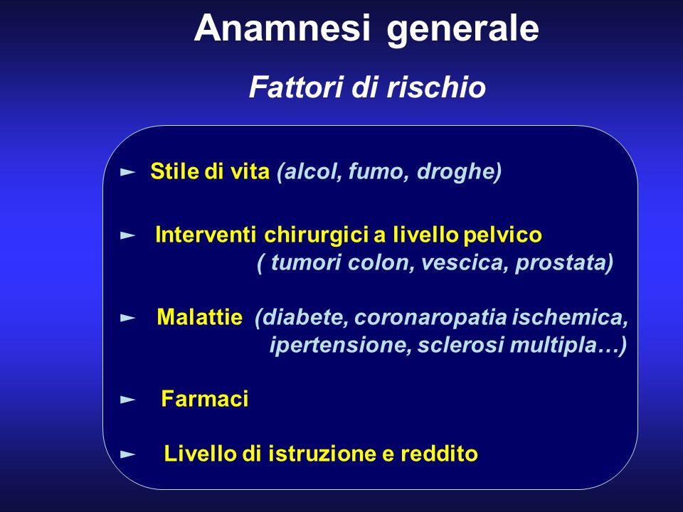 Anamnesi generale Fattori di rischio