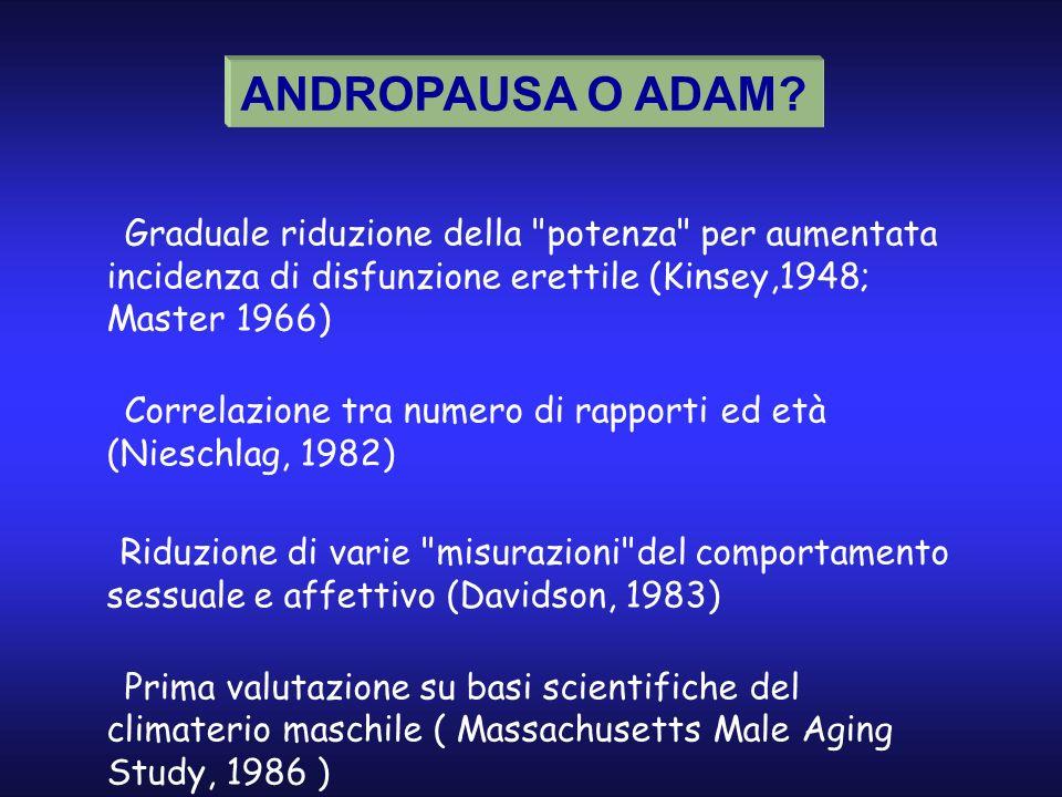 ANDROPAUSA O ADAM Ø Graduale riduzione della potenza per aumentata incidenza di disfunzione erettile (Kinsey,1948; Master 1966)