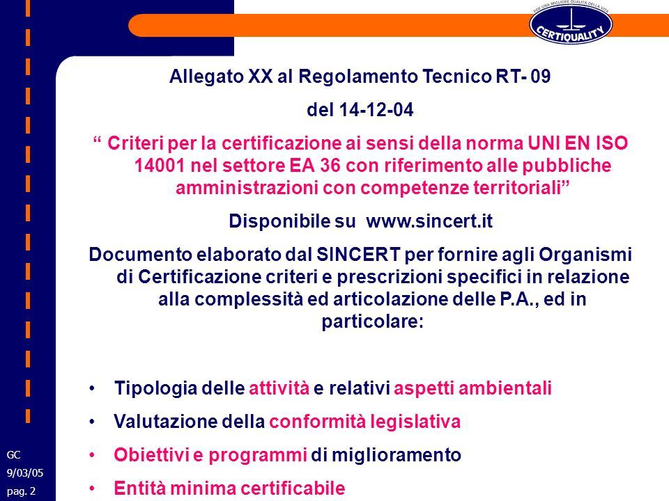 Allegato XX al Regolamento Tecnico RT- 09 del 14-12-04