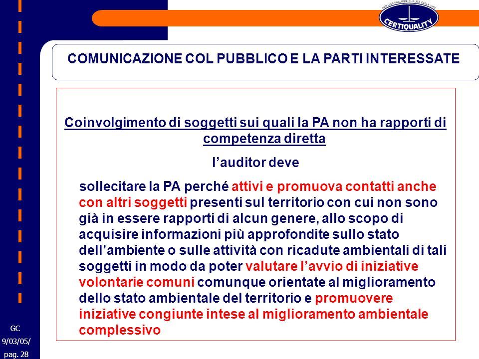 COMUNICAZIONE COL PUBBLICO E LA PARTI INTERESSATE