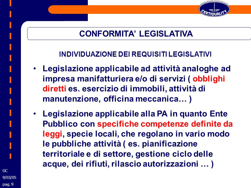CONFORMITA' LEGISLATIVA INDIVIDUAZIONE DEI REQUISITI LEGISLATIVI