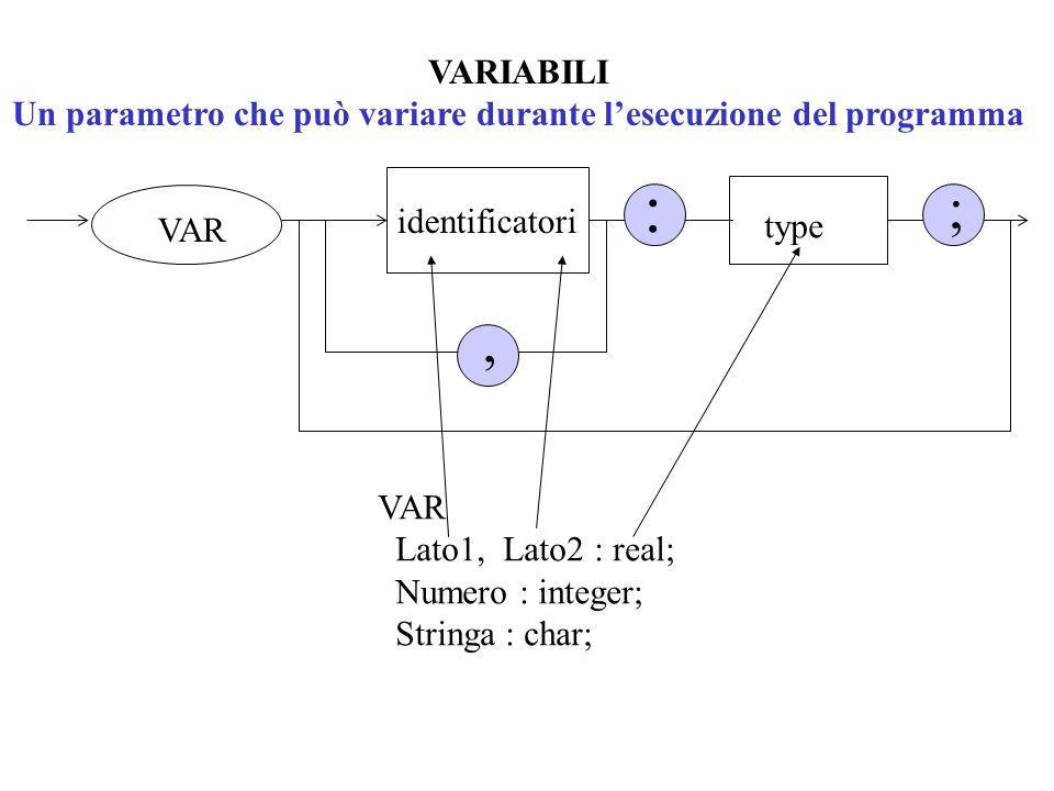 Un parametro che può variare durante l'esecuzione del programma