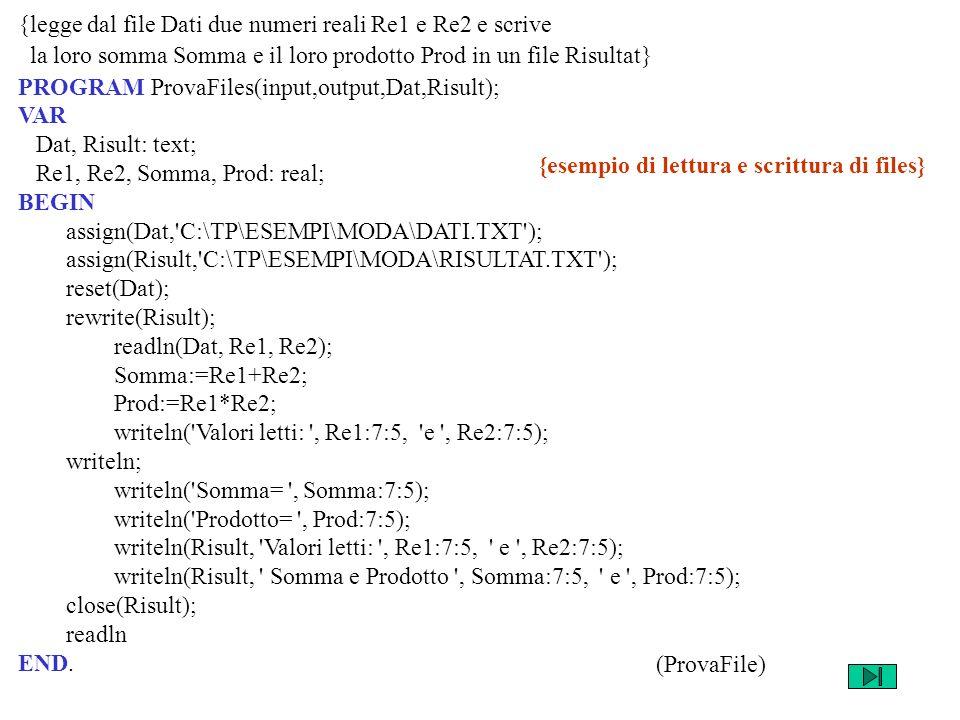 {legge dal file Dati due numeri reali Re1 e Re2 e scrive