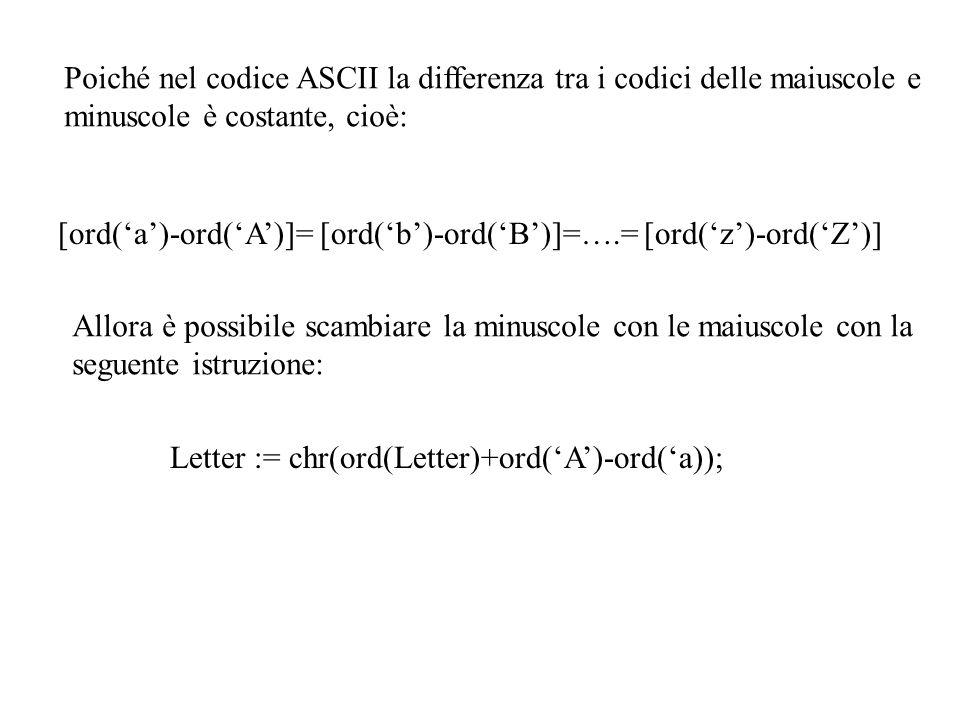 Poiché nel codice ASCII la differenza tra i codici delle maiuscole e