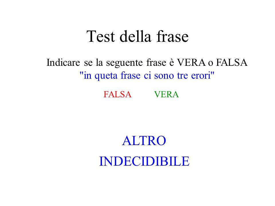 Test della frase ALTRO INDECIDIBILE