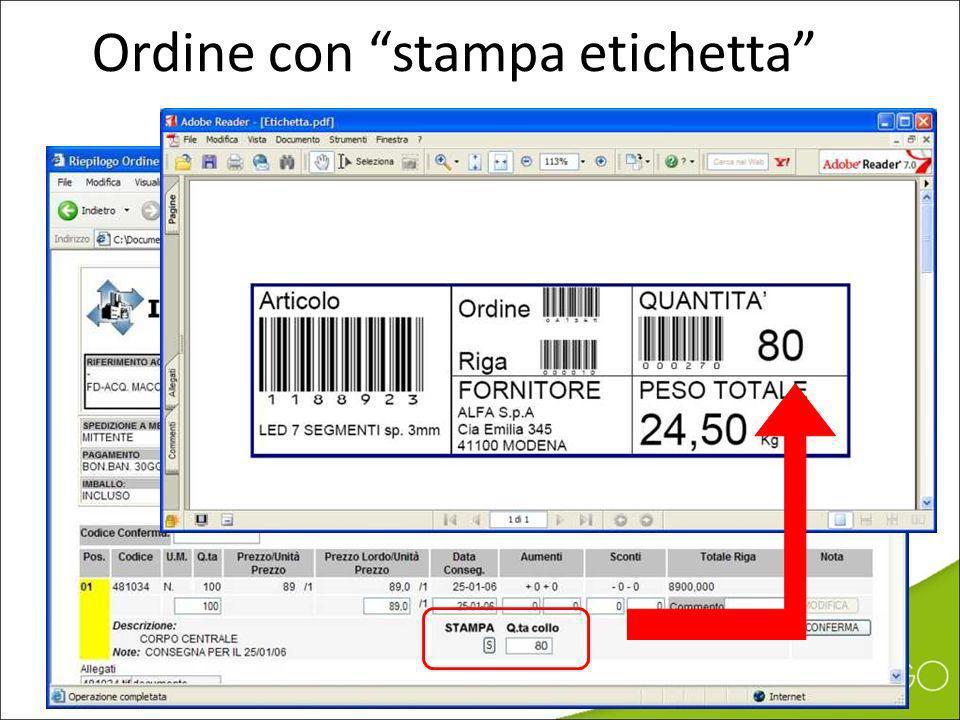 Ordine con stampa etichetta