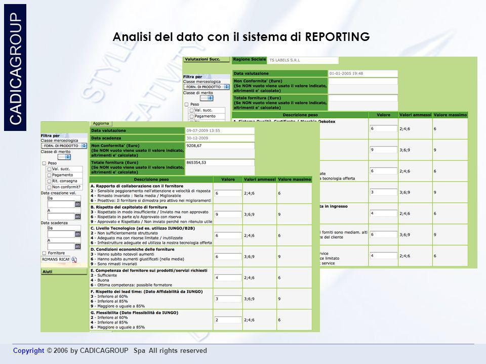 Analisi del dato con il sistema di REPORTING
