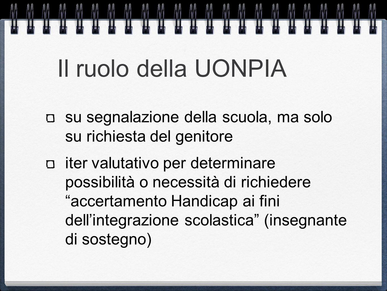 Il ruolo della UONPIA su segnalazione della scuola, ma solo su richiesta del genitore.