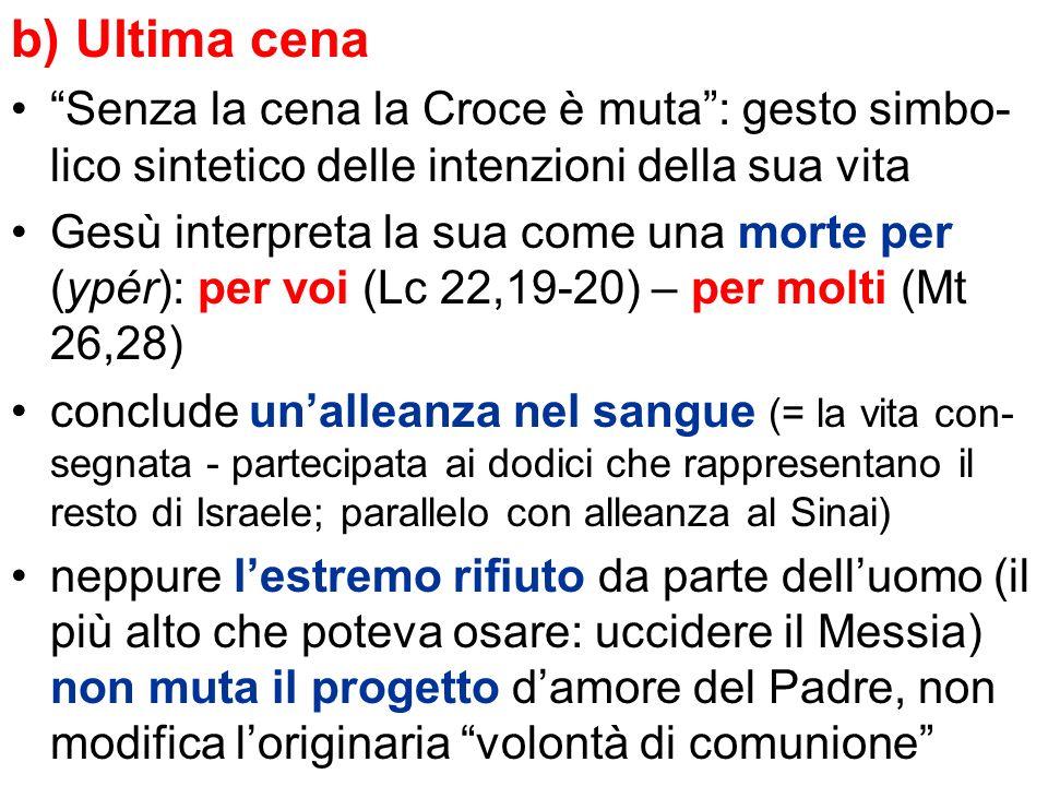 b) Ultima cena Senza la cena la Croce è muta : gesto simbo-lico sintetico delle intenzioni della sua vita.