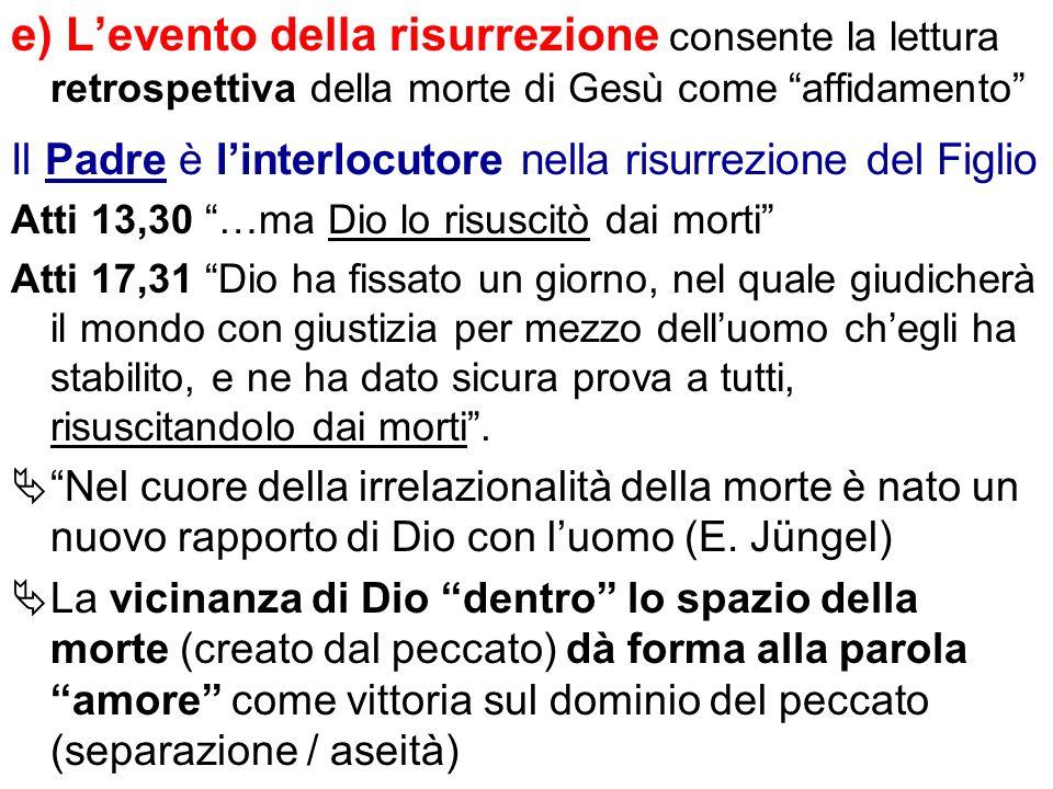 e) L'evento della risurrezione consente la lettura retrospettiva della morte di Gesù come affidamento